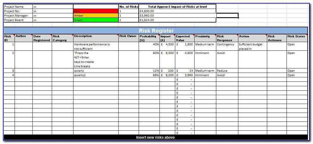Risk Register Template Excel Free Download