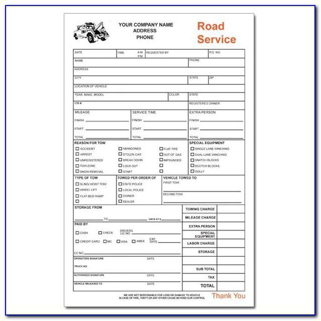 Road Service Invoice Template