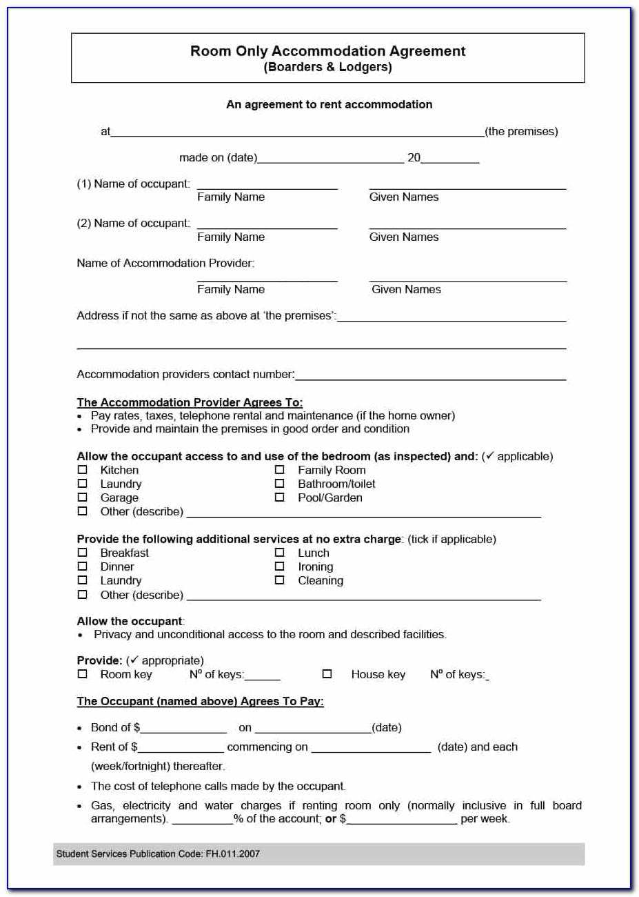 Room Rent Lease Agreement Template