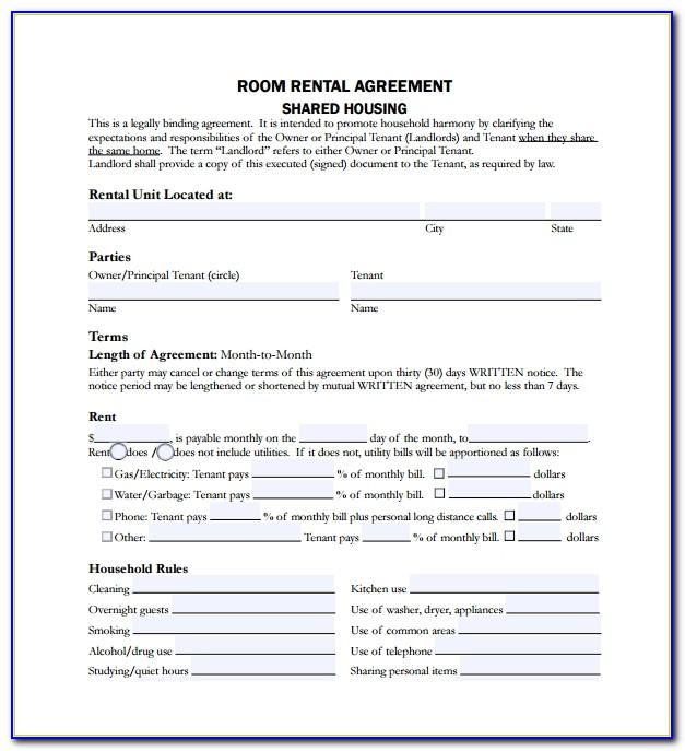 Room Rental Agreement Document