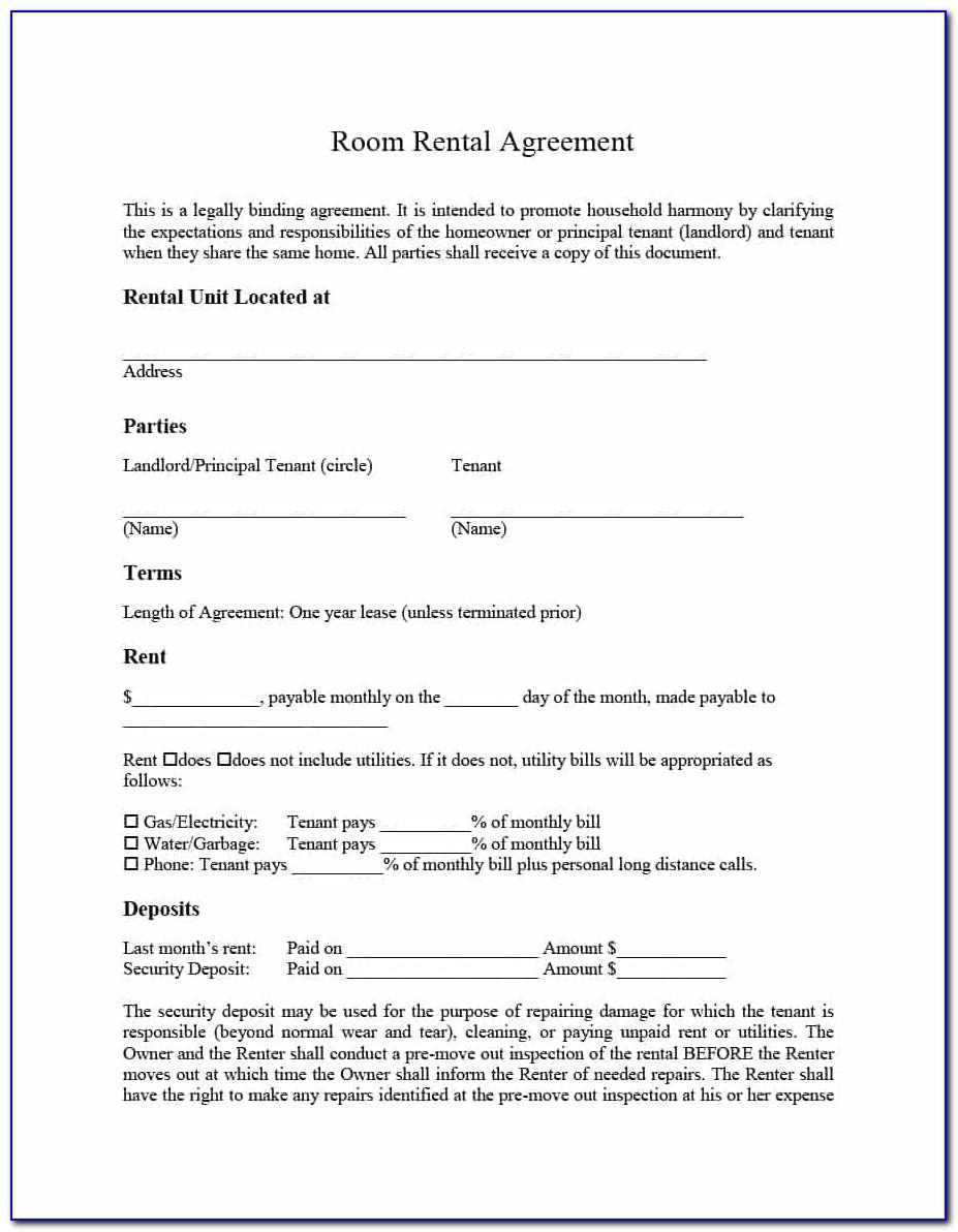 Room Rental Lease Agreement Template