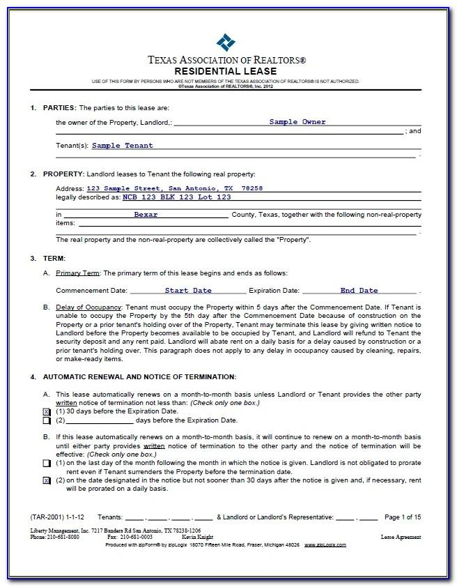 Roommate Lease Agreement Examples