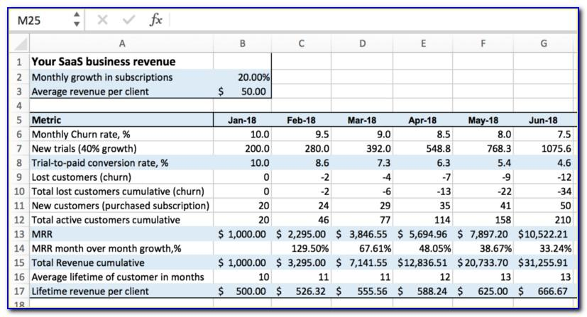 Saas Financial Projections Template