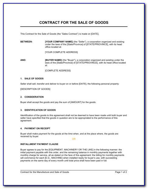 Sales Of Goods Contract Template