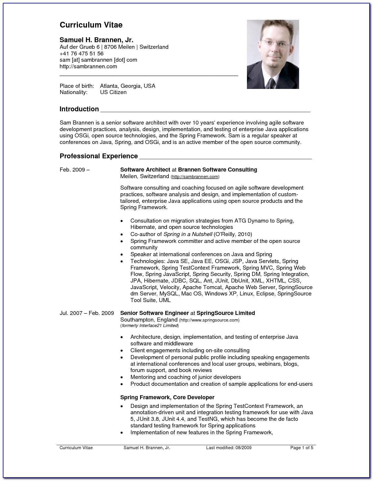 Sample Example Of Curriculum Vitae