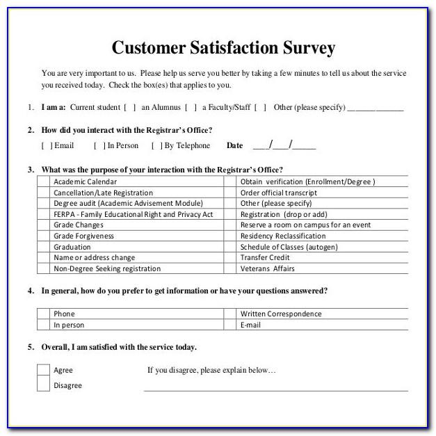 Sample For Customer Satisfaction Survey