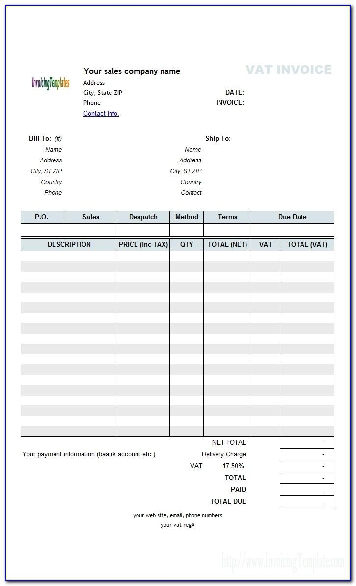 Sample Invoice Template Excel Free