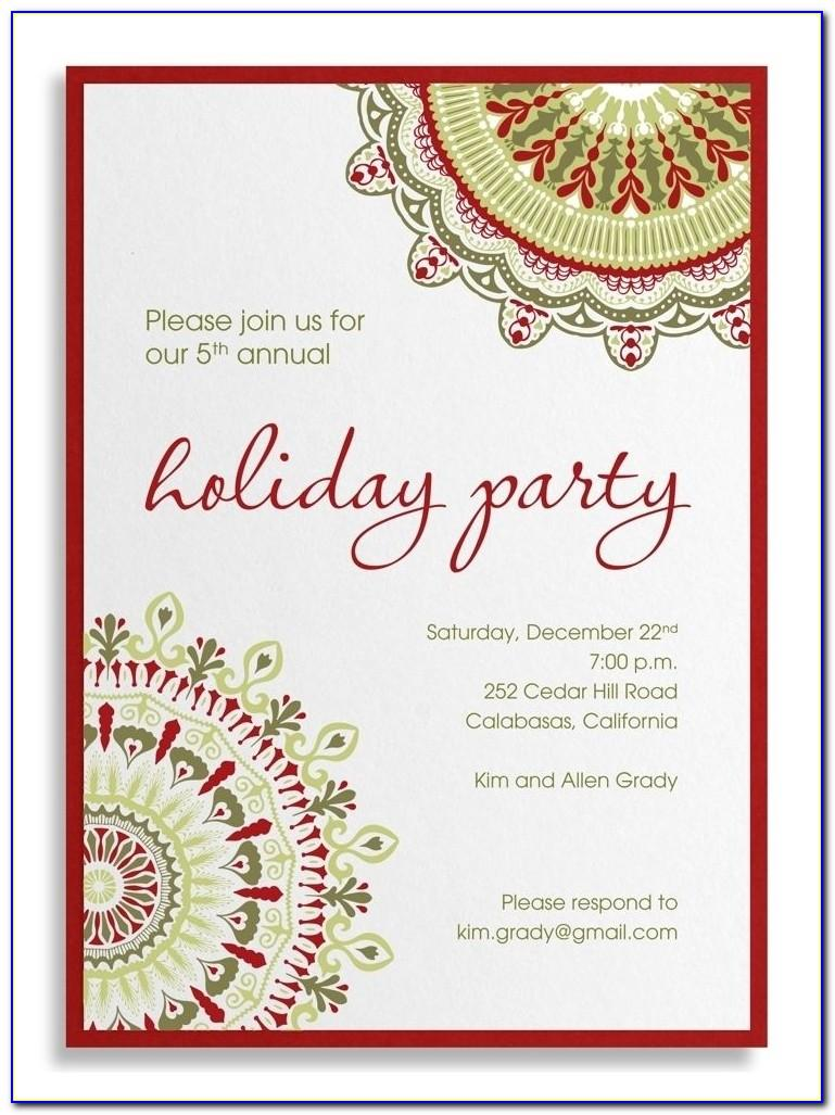 Sample Of Christmas Party Invitation Cards