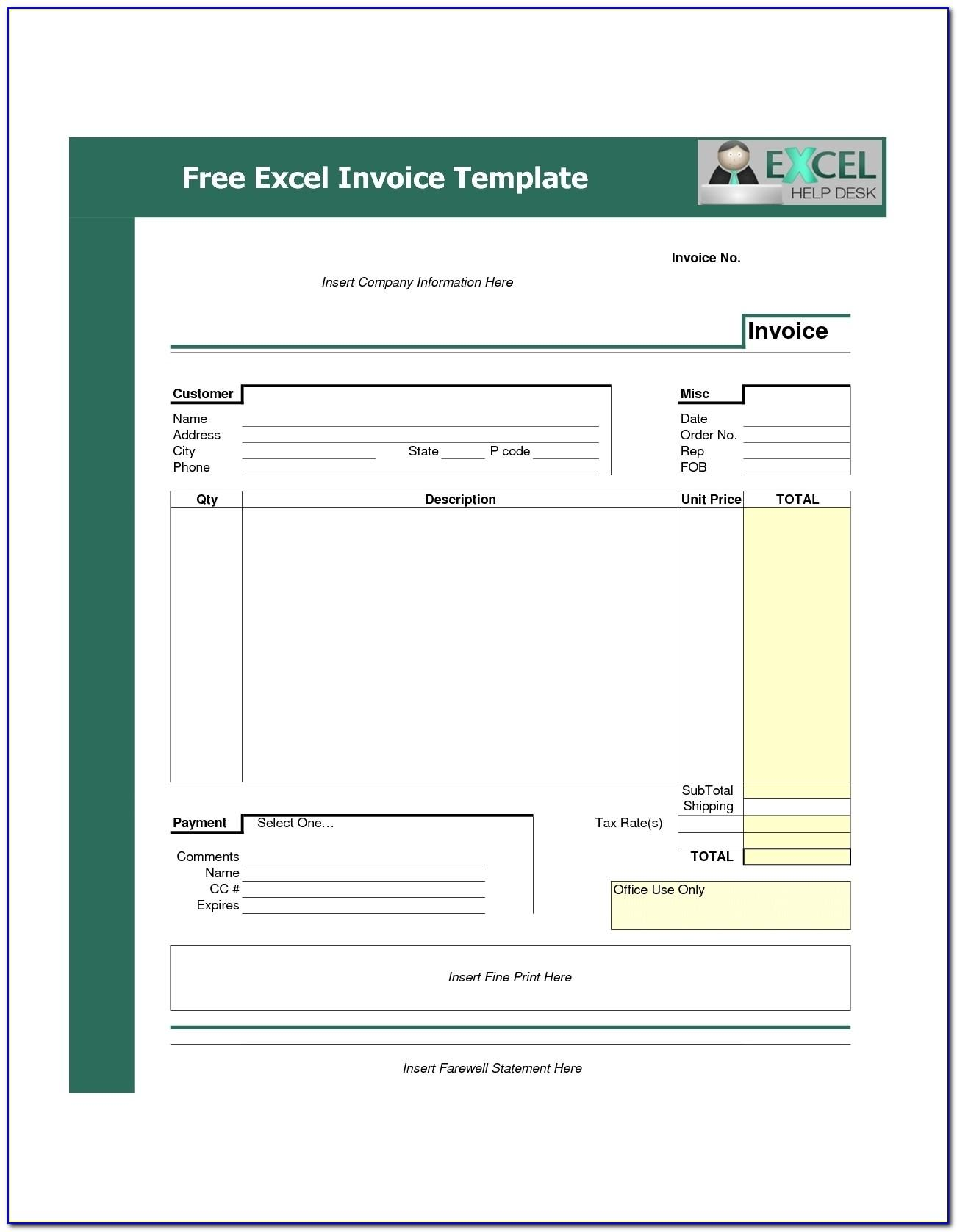 Sample Service Invoice Template Excel