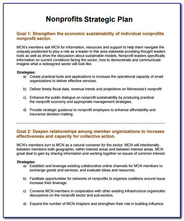Sample Strategic Plan Nonprofit Organization