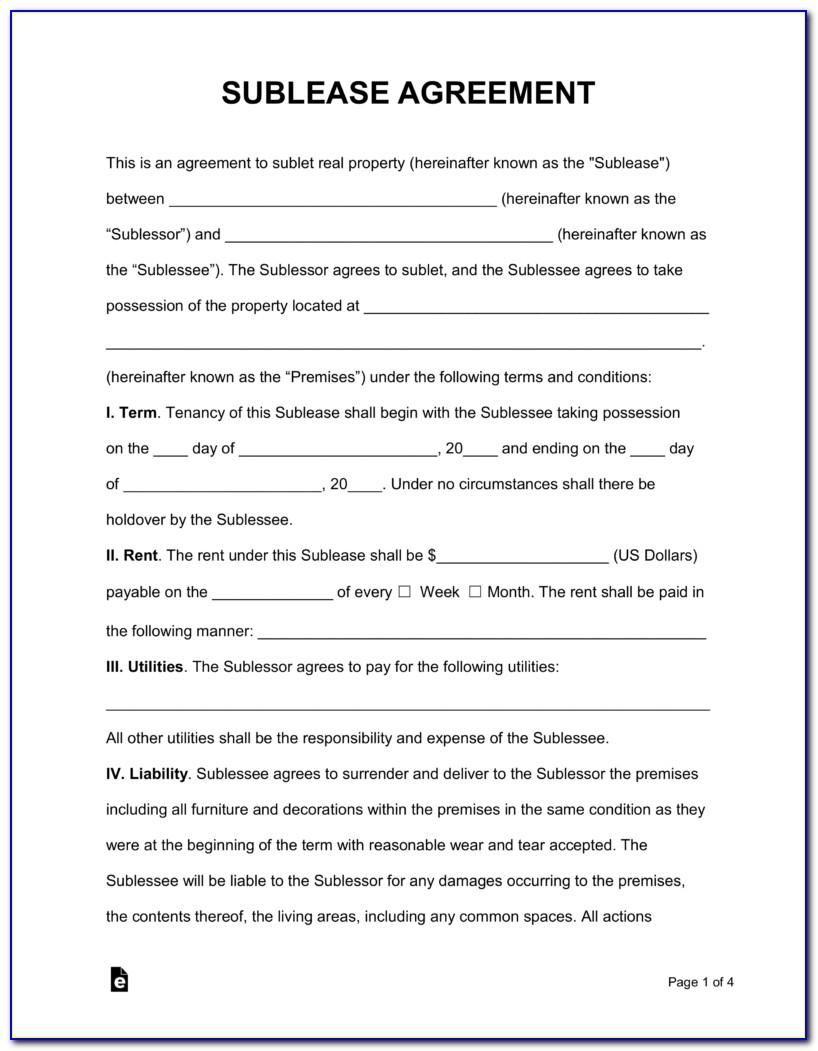 Sample Sublease Contract Template