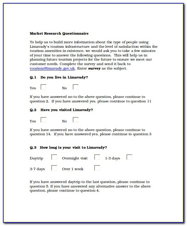 Sample Survey Questionnaire For Research Pdf