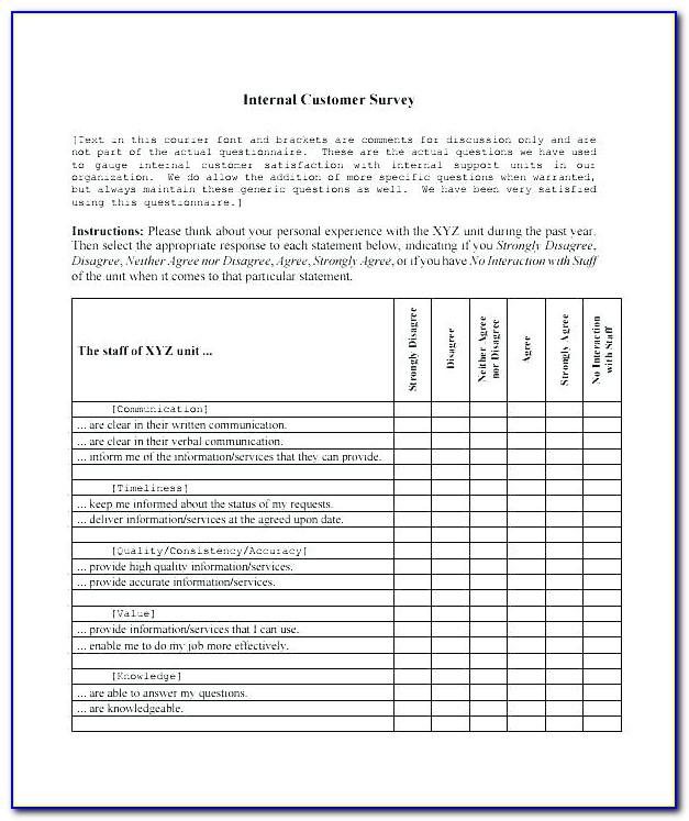 Sample Survey Questionnaire In Word Format