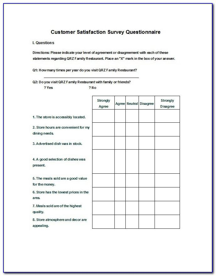 Sample Survey Templates Free