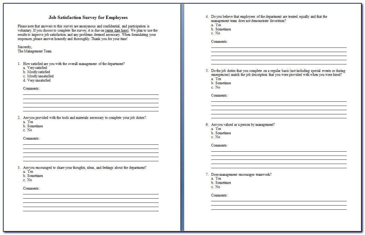 Sample Survey Templates Word Web