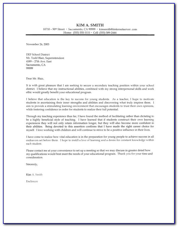 Sample Teaching Resume Cover Letter