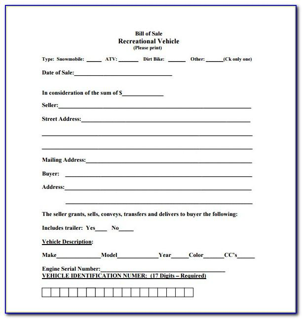 Sample Vehicle Bill Of Sale Alberta