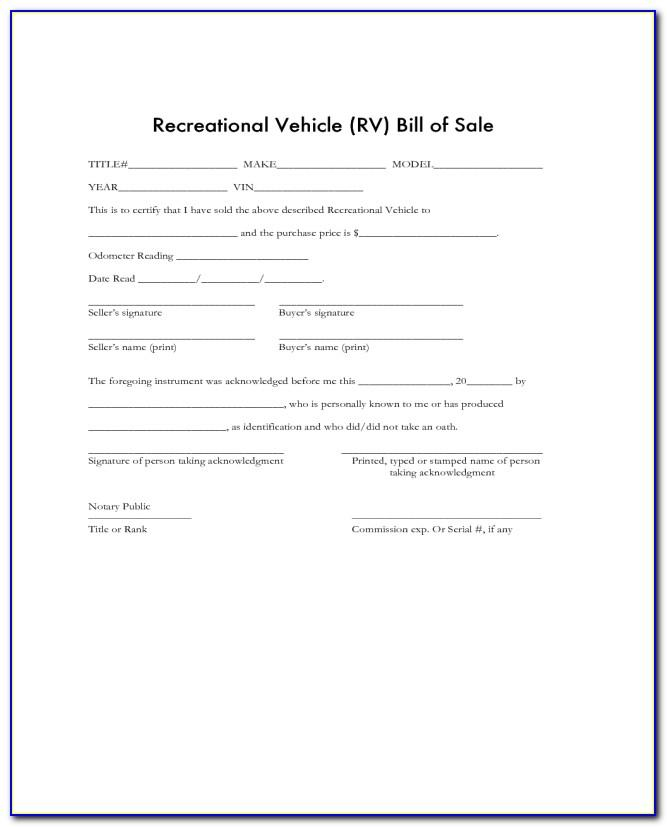 Sample Vehicle Bill Of Sale Canada