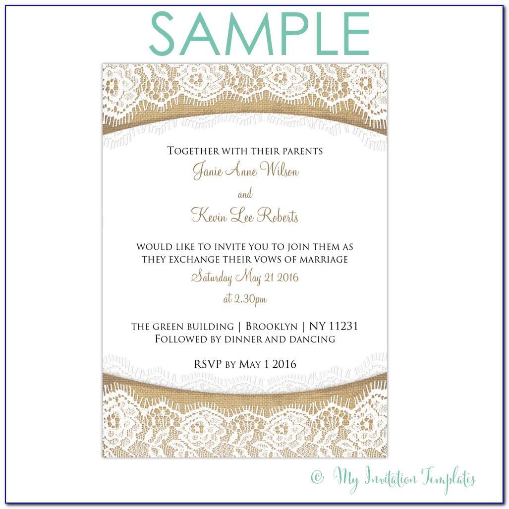 Sample Wedding Invitation Card Format