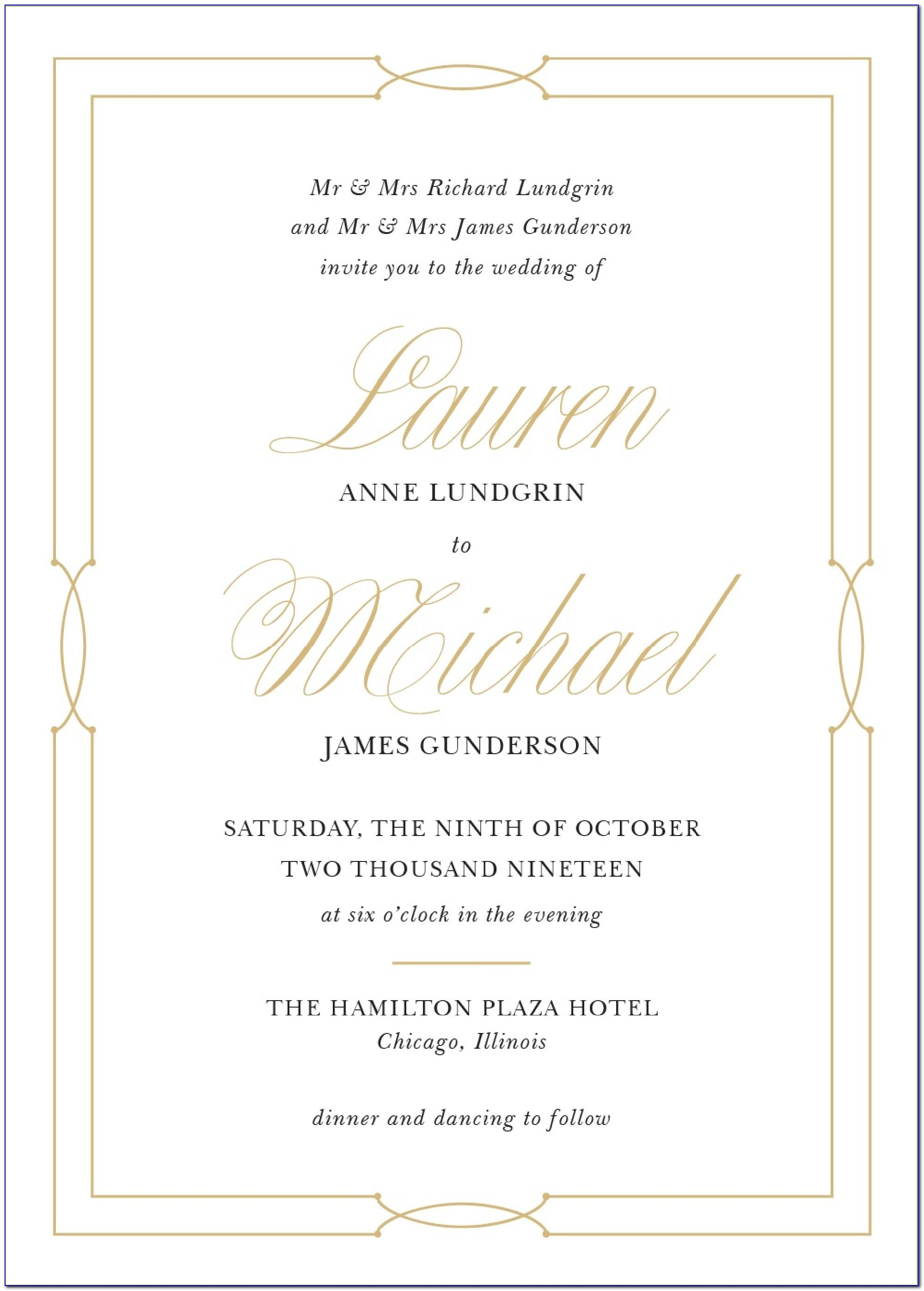 Sample Wedding Invitation Format With Entourage