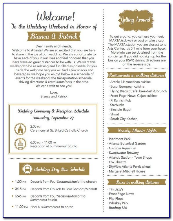 Sample Wedding Itinerary For Out Of Town Guests