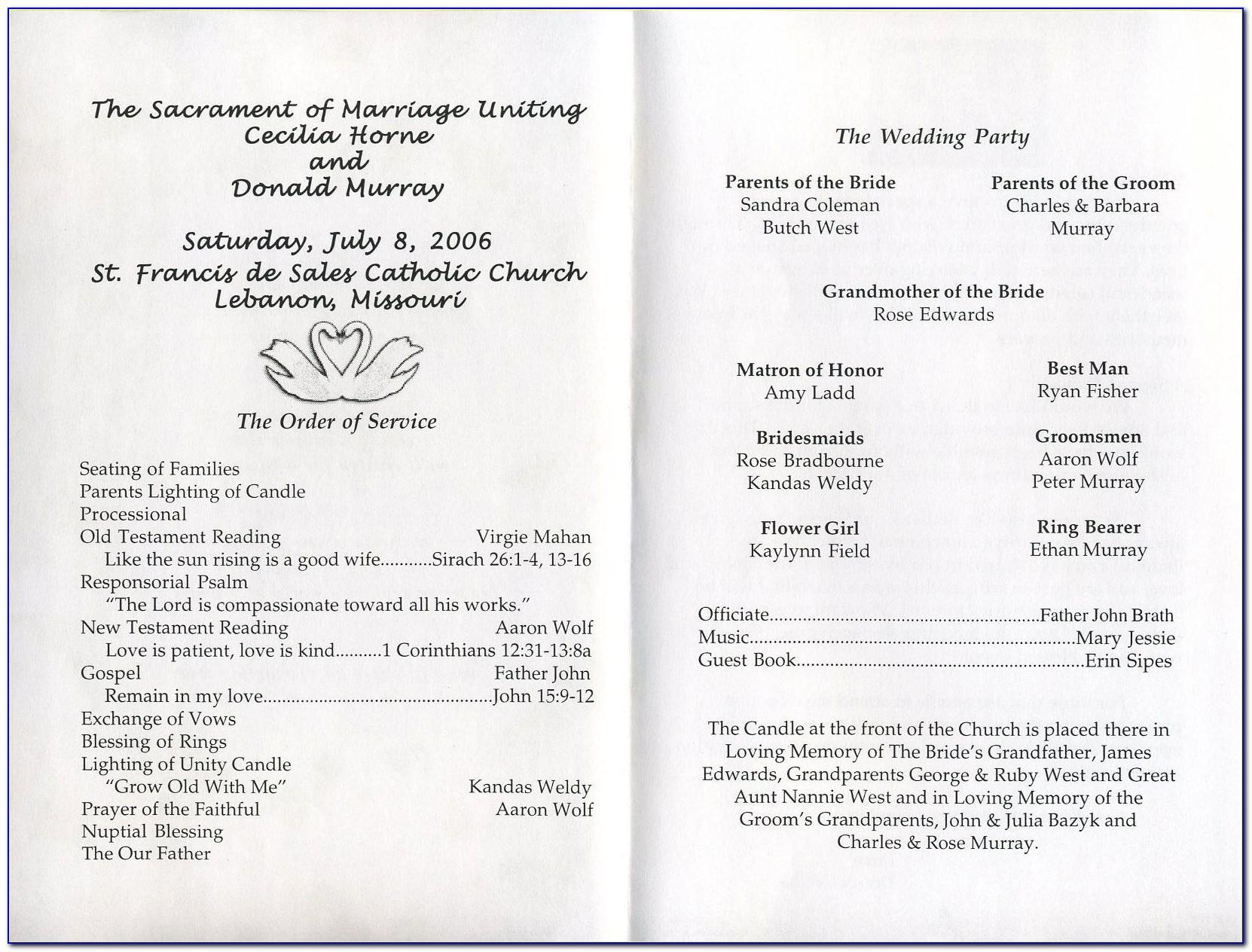 Sample Wedding Program Format