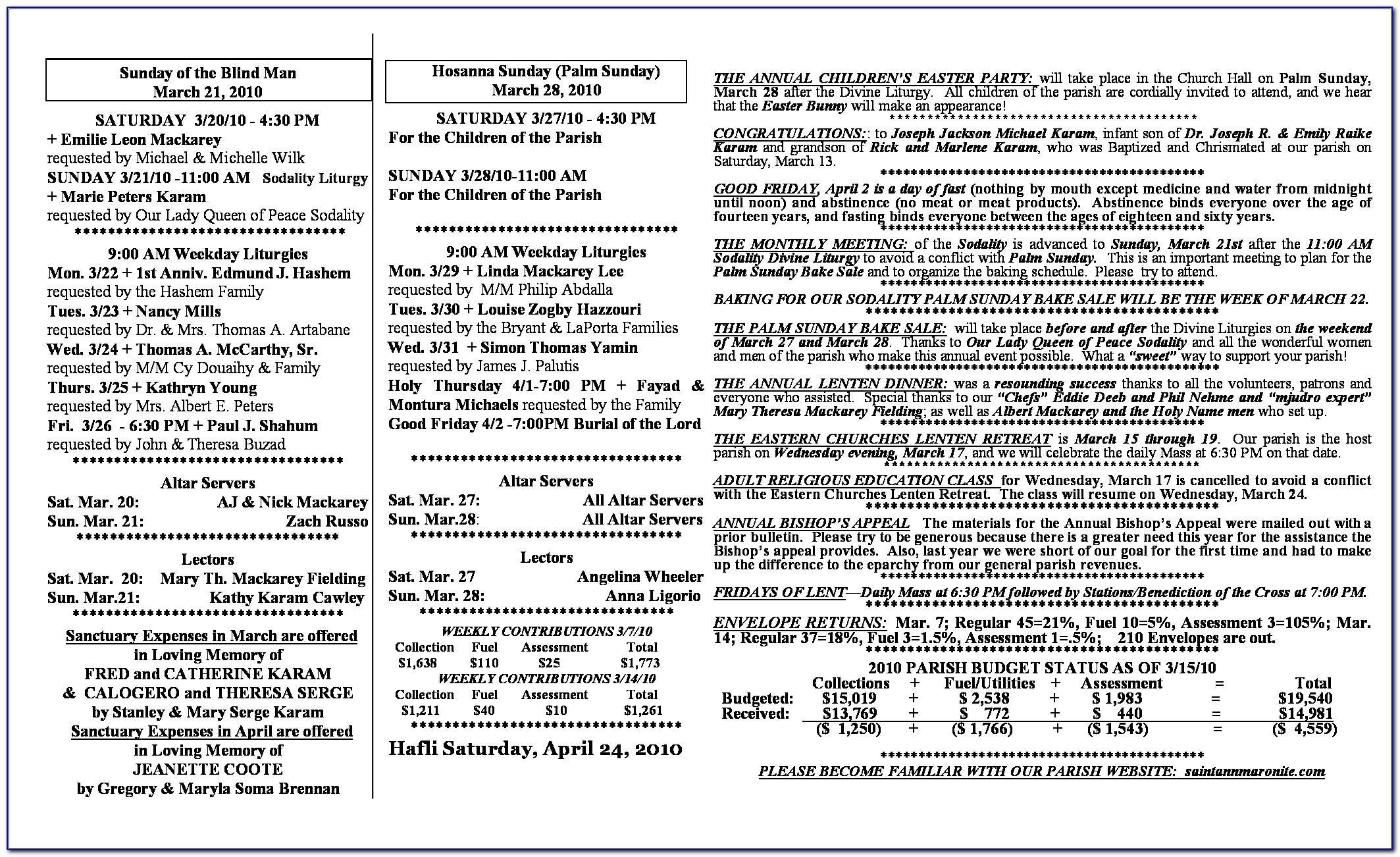 Sample Wedding Schedule Template
