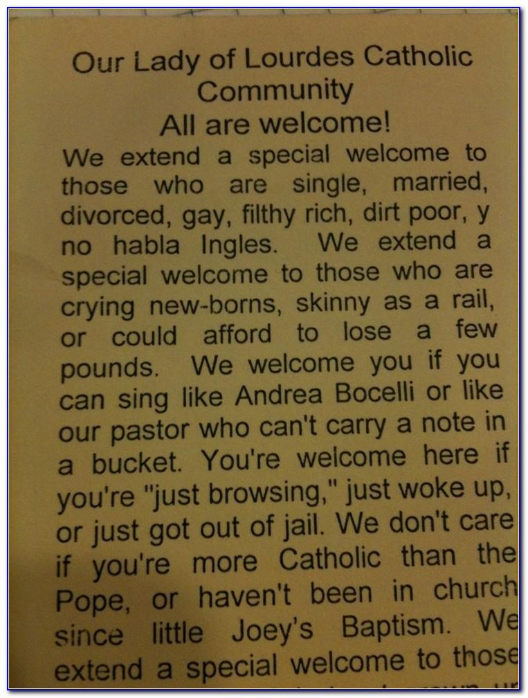 Sample Welcome For Church Bulletin