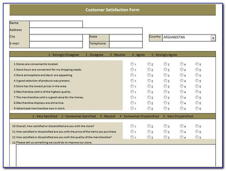 Satisfaction Questionnaire Template Word