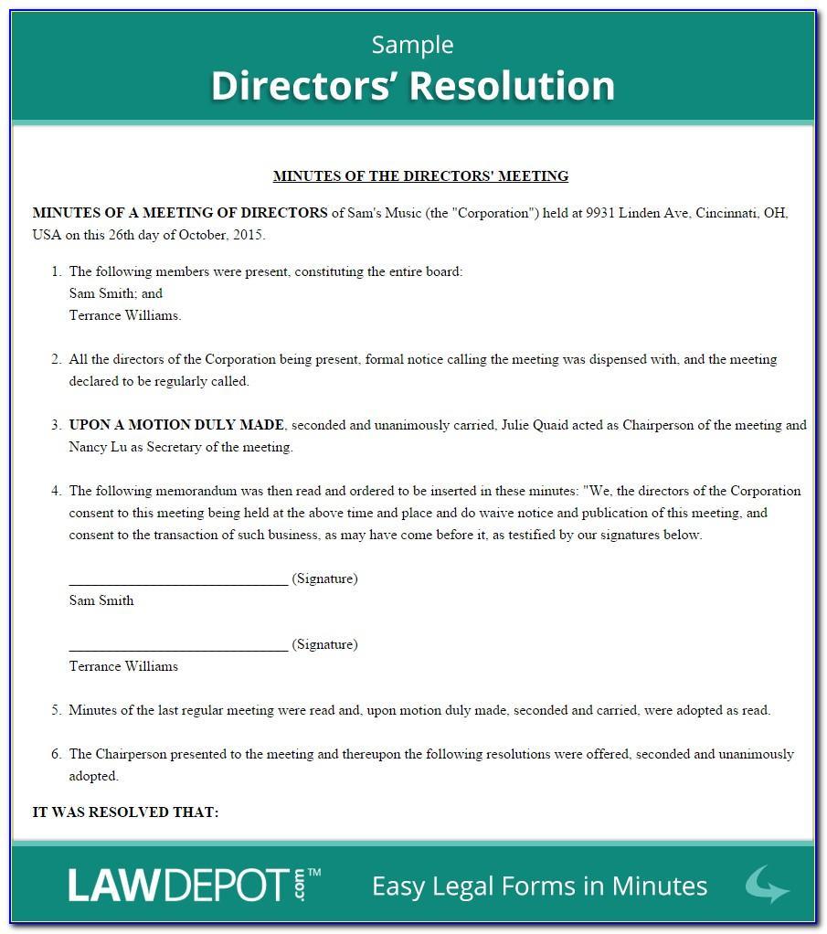 Shareholder Resolution Template Australia