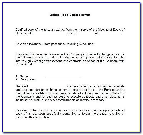 Shareholder Resolution Template Canada