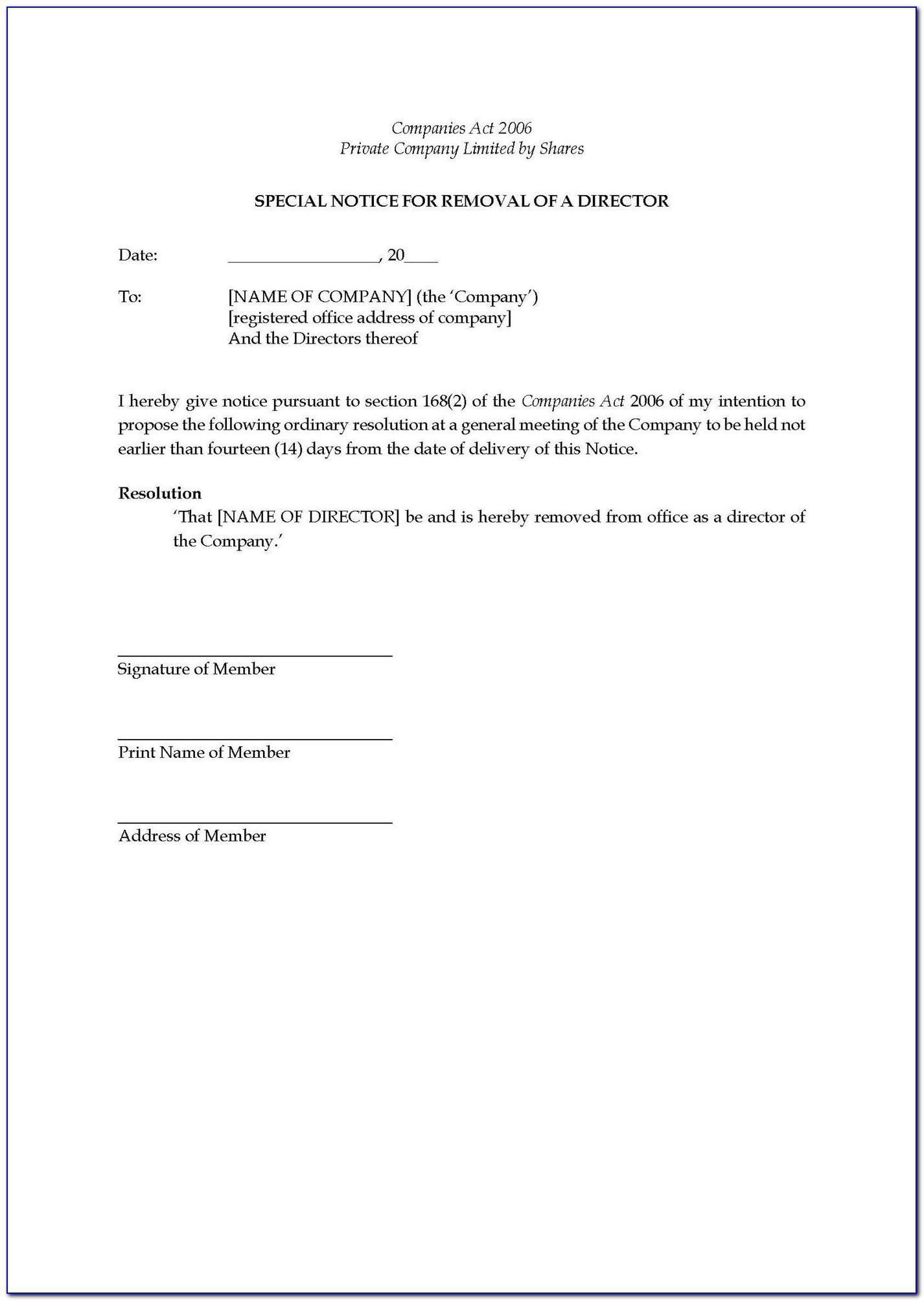 Shareholders Resolution Template