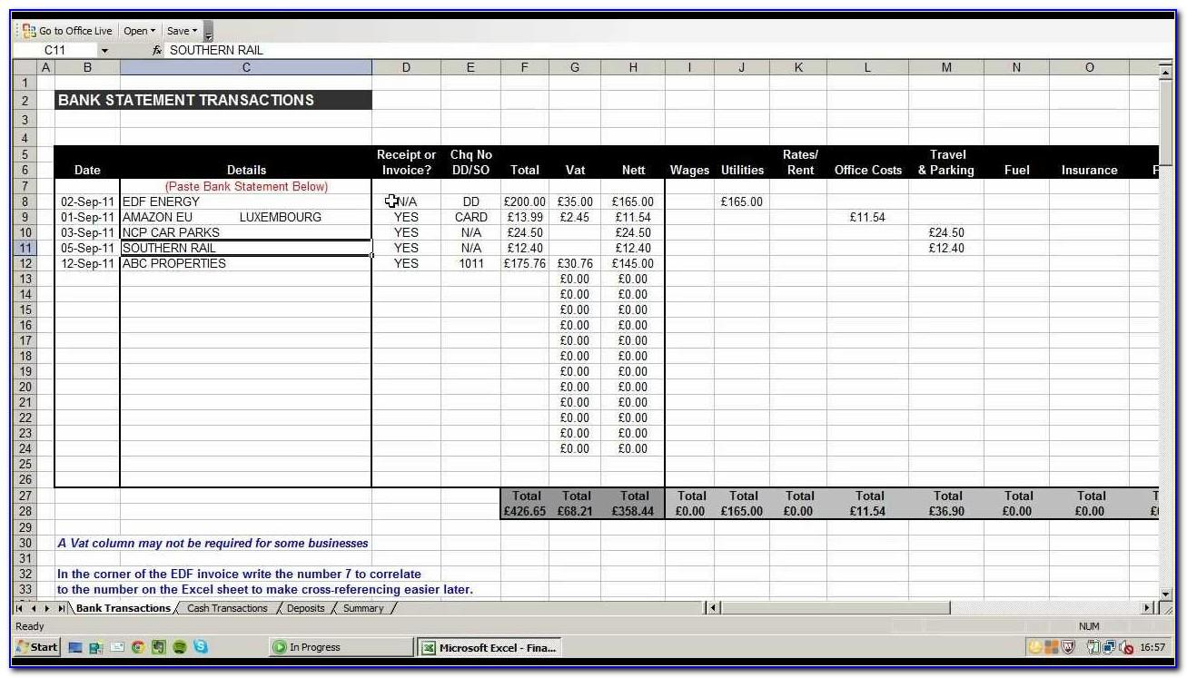 Simple Bookkeeping Spreadsheet Template Excel