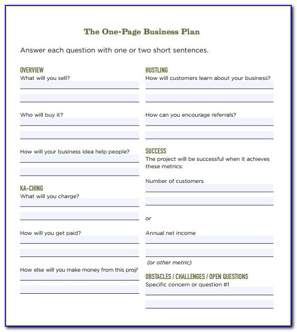 Simple Startup Business Plan Template Pdf