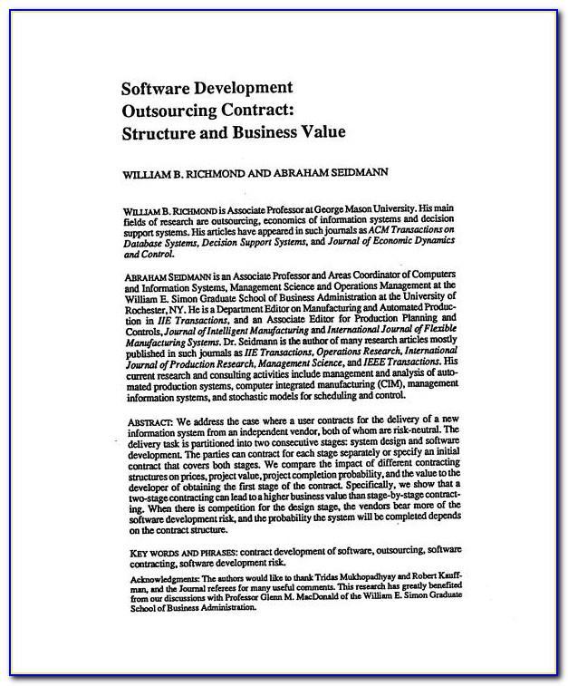 Software Development Outsourcing Agreement Template