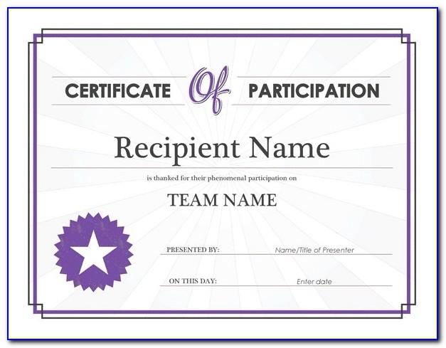 Sports Participation Award Certificate Template