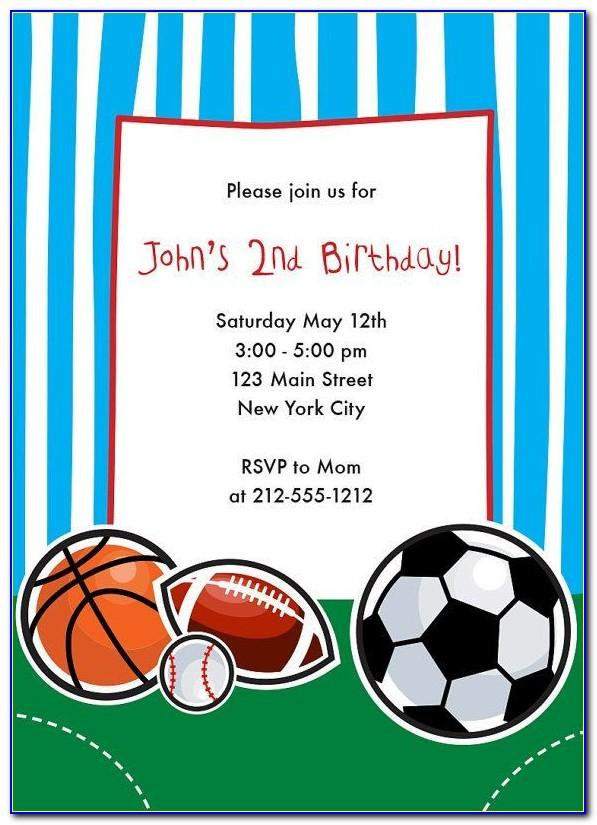 Sports Themed Birthday Invitation Templates Free