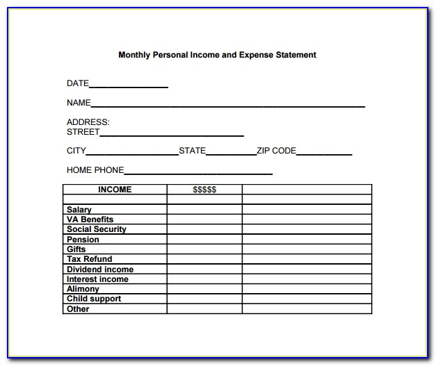 Statement Of Income And Expenses Template