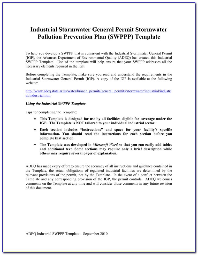 Stormwater Pollution Prevention Plan Template California