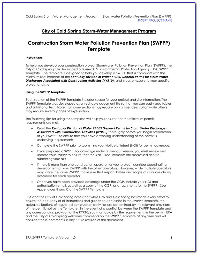 Stormwater Prevention Plan Template