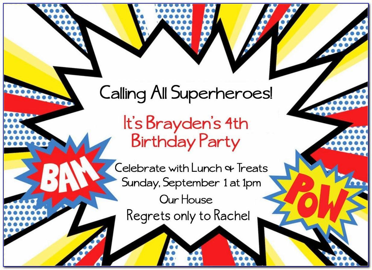 Superhero Themed Birthday Invitation Template