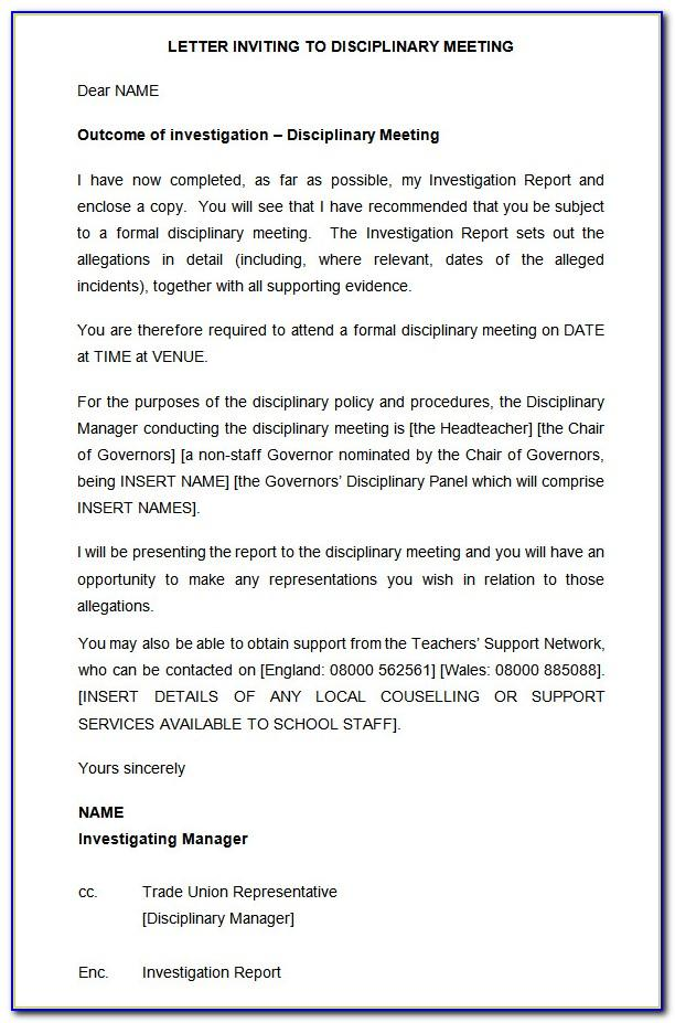 Template Disciplinary Hearing Letter