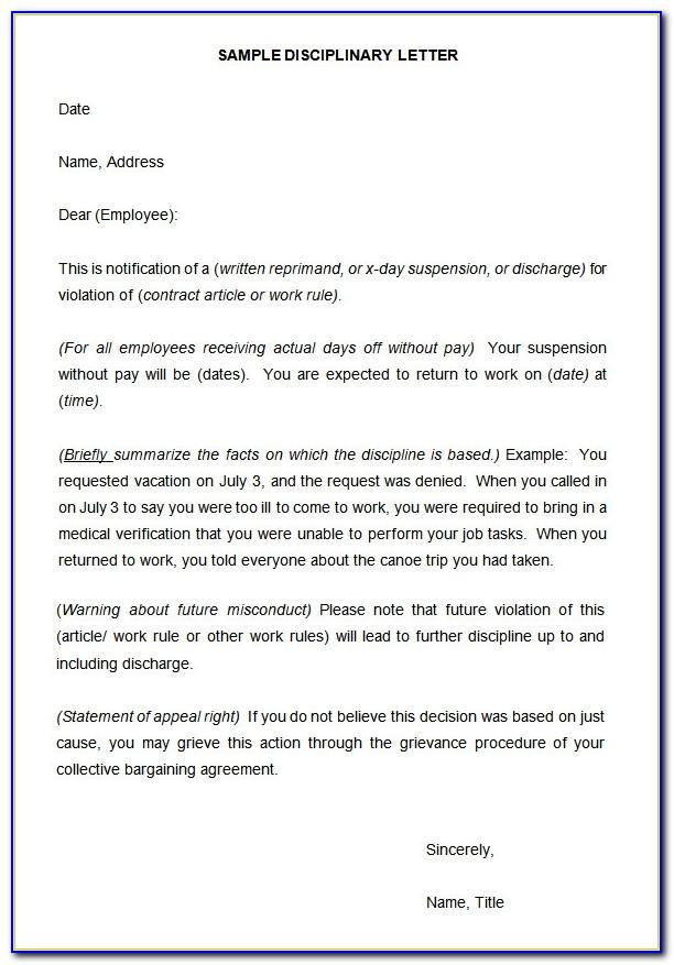 Template Disciplinary Letter
