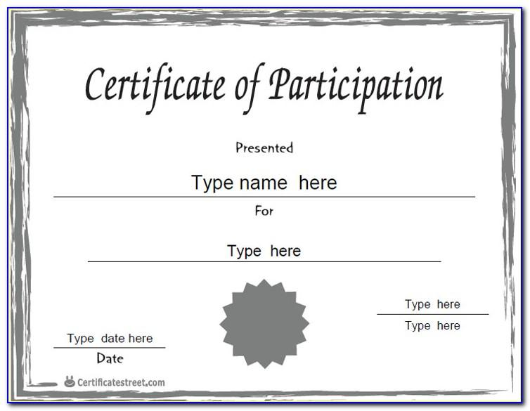 Template For Certification Of Participation