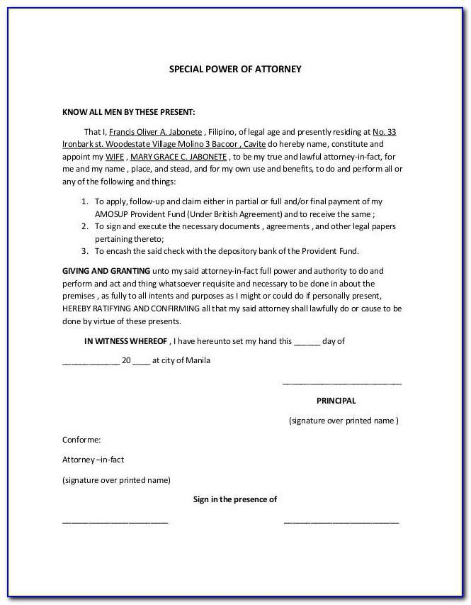 Template For Power Of Attorney Document