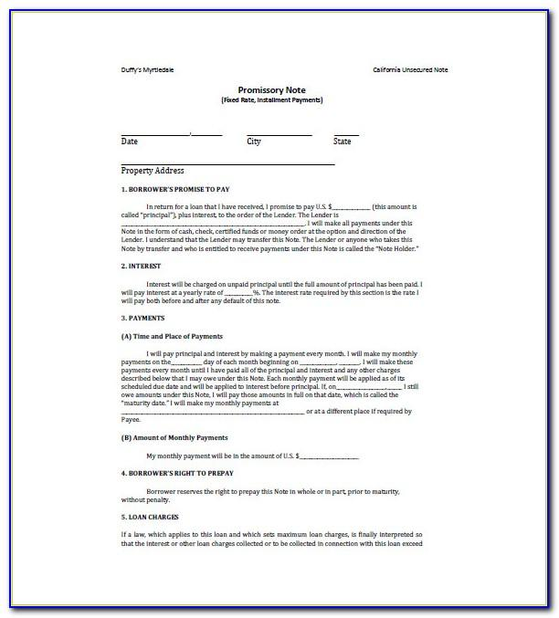 Template For Promissory Note Online