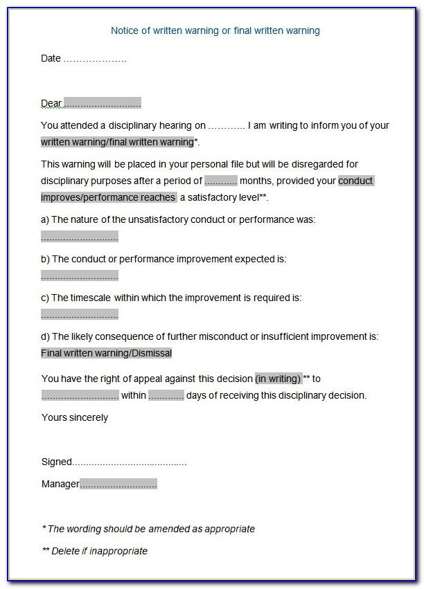 Template Letter Disciplinary Meeting