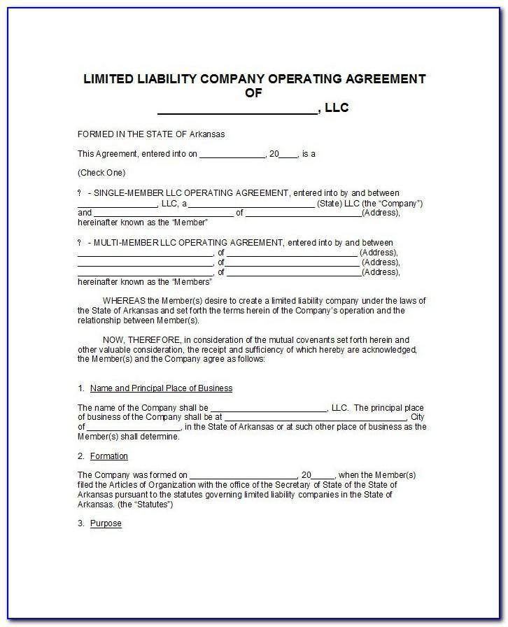 Template Single Member Llc Operating Agreement