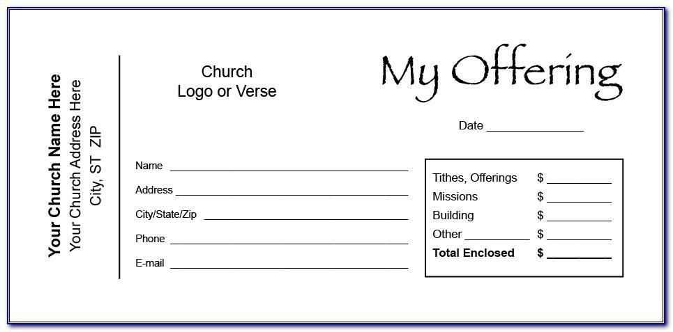 Tithe And Offering Envelope Template