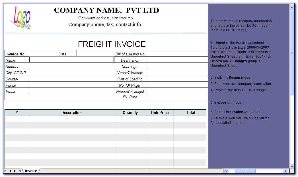 Transportation Invoice Format In Word